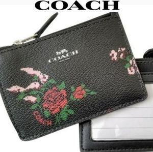 COACH Floral Rose ID Card Case Holder Wallet NWOT